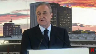 Florentino Perez during his Christmas address at the Santiago...