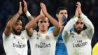 Marcelo, Lucas Vázque, Carvajal y Courtois, al término de un partido...