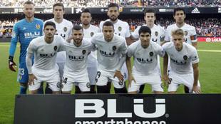 Equipo inicial del Valencia en el pasado encuentro de Liga ante el...