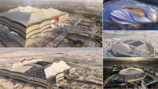 Vista aérea de varios de los estadios de Qatar 2022.