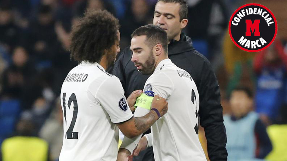 Marcelo gives Carvajal the armband against CSKA Moscow.
