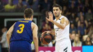 Facundo Campazzo dirige el ataque del Real Madrid ante la defensa de...