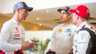 Sordo y Loeb, durante el pasado Rally de Cataluña.