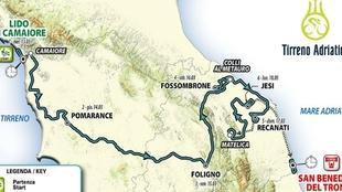 Mapa del recorrido de la Tirreno-Adriático 2019.