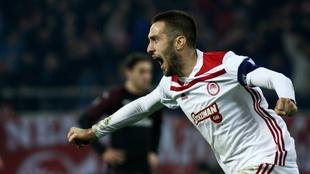 Fortounis celebra el 3-1 a favor del Olympiacos