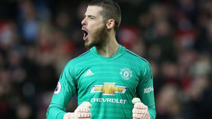 David de Gea celebrates one of Manchester United's goals against...