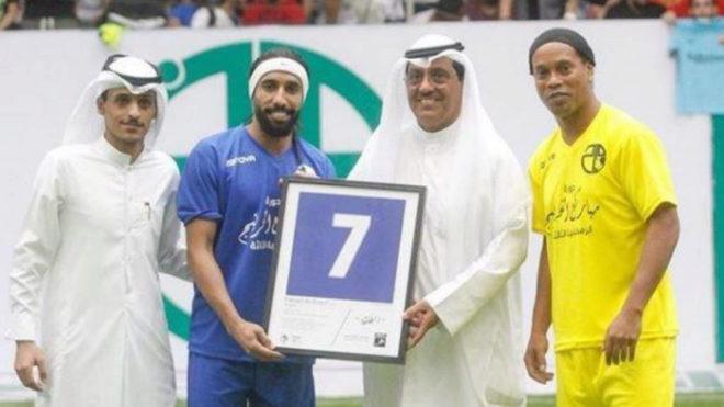 Ronaldinho at the Alkhurainejtour tournament in Kuwait.