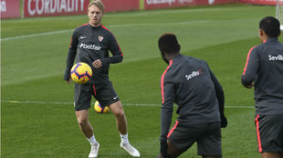 Kjaer in training on Friday morning.