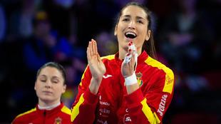 Lara González antes de un partido con España en el Europeo de...