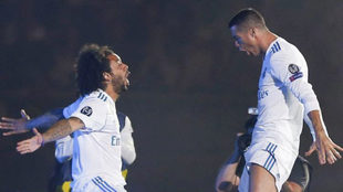 Marcelo y Ronaldo, durante la celebración en el Bernabéu de la...