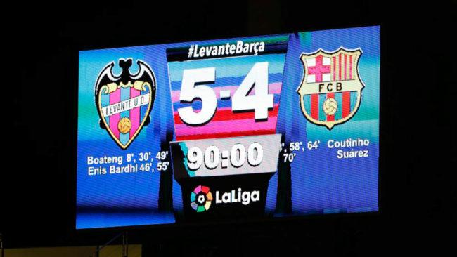 Marcador del último Levante-Barça.