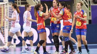 Las 'Guerreras' celebran su victoria ante Croacia en el...