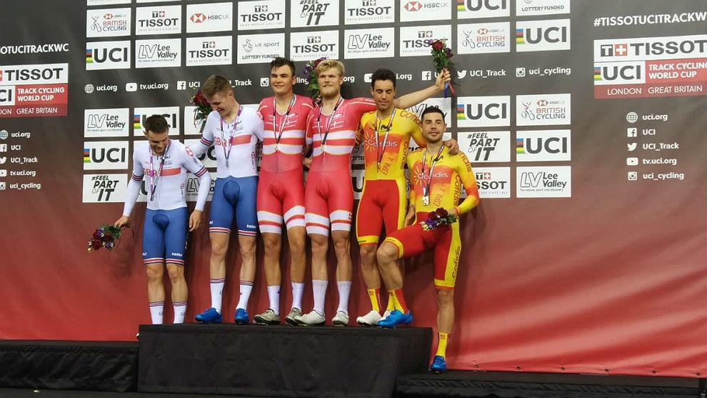 Dinamarca, Gran Bretaña y España, en el podio de la madison en Lee...