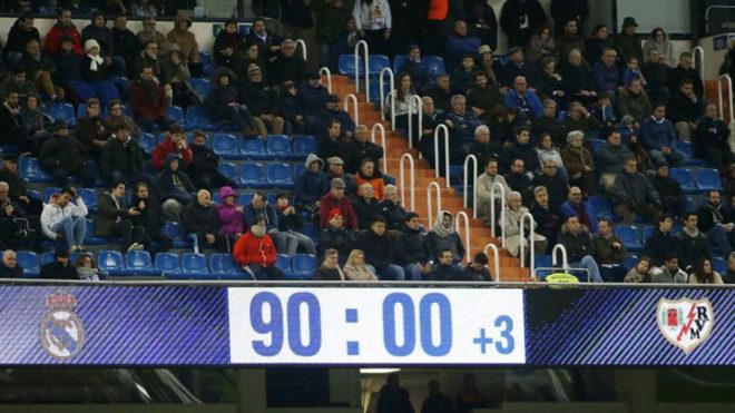 El marcador del Bernabéu, ante el Rayo.