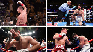 Canelo, in the red shorts, proved to be too much for Fielding.