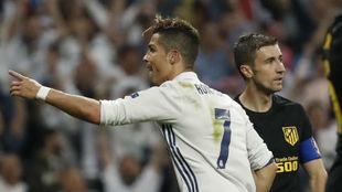 Cristiano celebra un gol al Atlético en Champions.