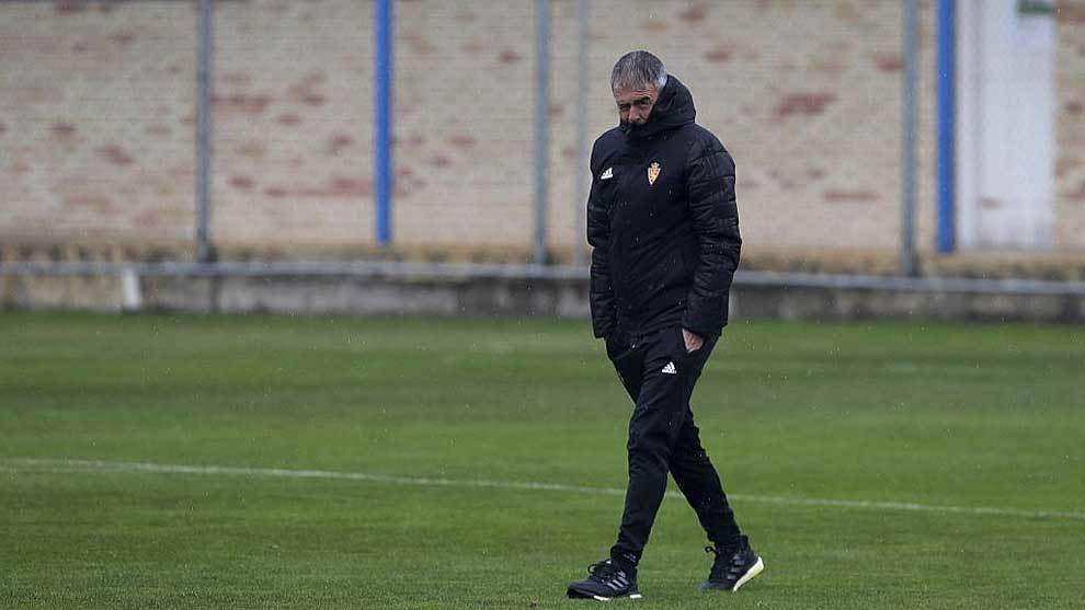 Lucas Alcaraz, durante un entrenamiento del Zaragoza la semana pasada