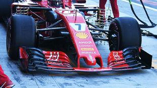 La parte delantera del Ferrari para la próxima campaña, con el...