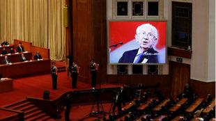 Retrato de Juan Antonio Samaranch, durante el acto homenaje en China