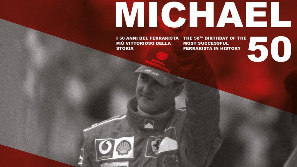 Cartel de la exposición 'Michael 50' en el Museo Ferrari.