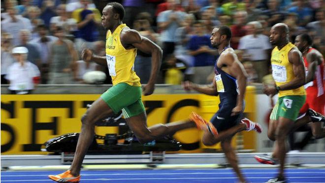 Usain Bolt durante la final de 100 metros en Berlín 2009.