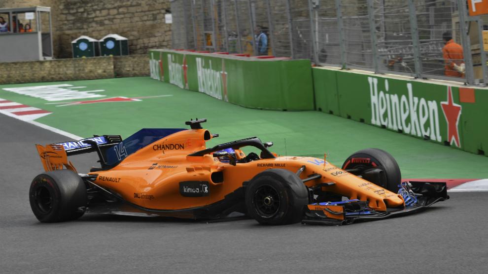 Fernando Alonso, en Bakú.