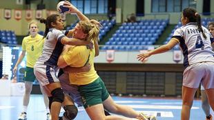 Hannah Mouncey durante un partido del reciente Campeonato Asiático