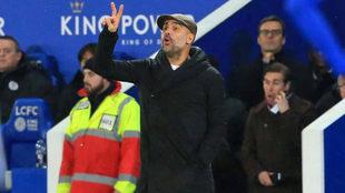 Guardiola, durante el duelo ante el Leicester.
