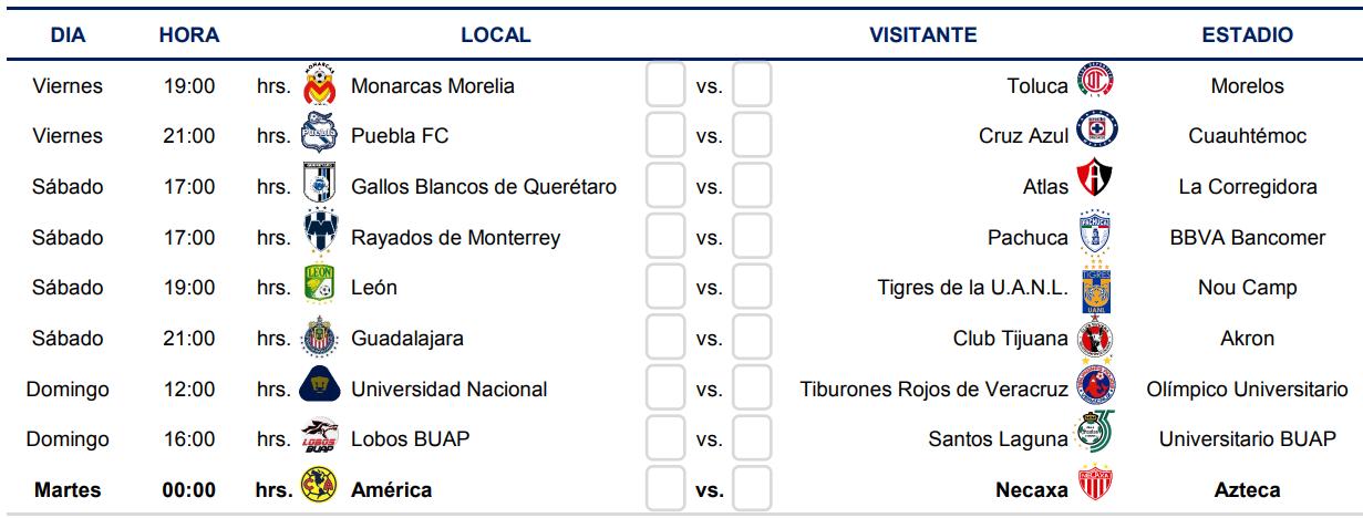 Liga MX Clausura 2019: Conoce el calendario completo del Clausura ...