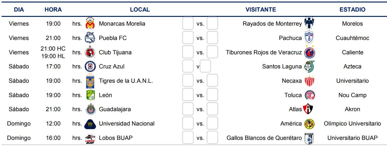 Liga MX Clausura 2019  Conoce el calendario completo del Clausura ... d39380e8a4070
