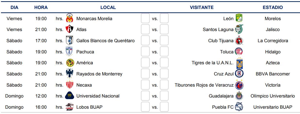Calendario De Liga Bbva 15 16.Liga Mx Clausura 2019 Conoce El Calendario Completo Del Clausura