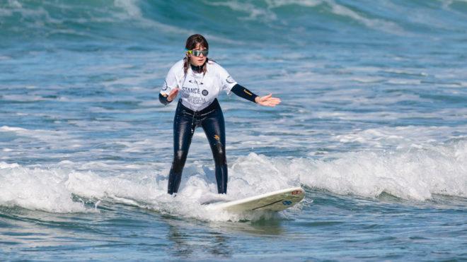 Carmen López, en el Mundial de surf celebrado en La Joya.