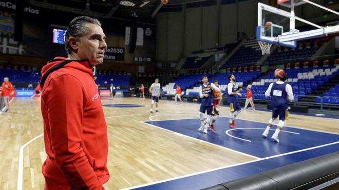 Sergio Scariolo durante un entrenamiento de la selección española en...