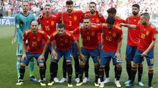 Once que presentó España frente a Rusia en el partido de octavos de...