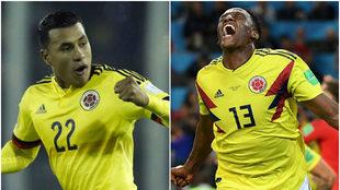 Murillo y Mina con la selección de Colombia.