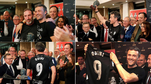 Luis Enrique se puso la camiseta del Sporting homenaje a Quini