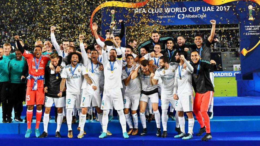 El Real Madrid celebra el título del Mundial de clubes 2017