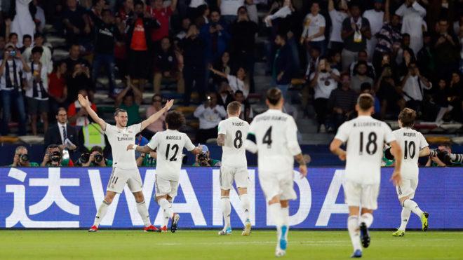 Celebración de los merengues por un gol de Bale.