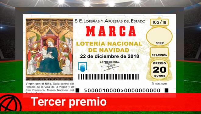Terceros premios de la Lotería de Navidad 2018.