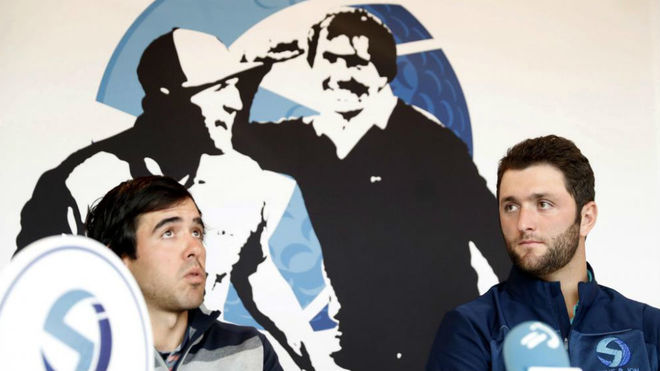 Javier Ballesteros y Jon Rahm, en la presentación del torneo Seve&Jon...