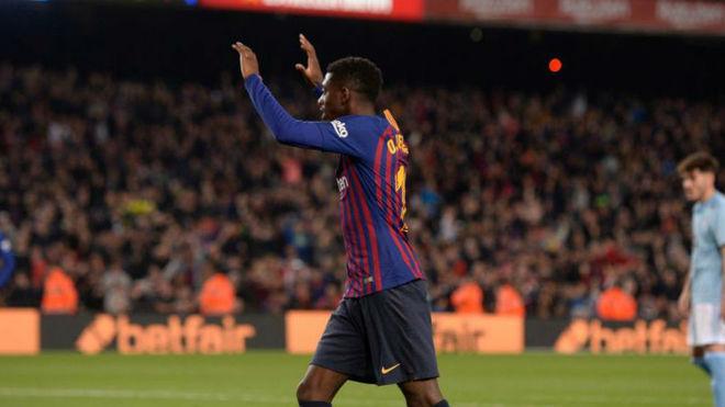Dembélé celebra su gol contra el Celta