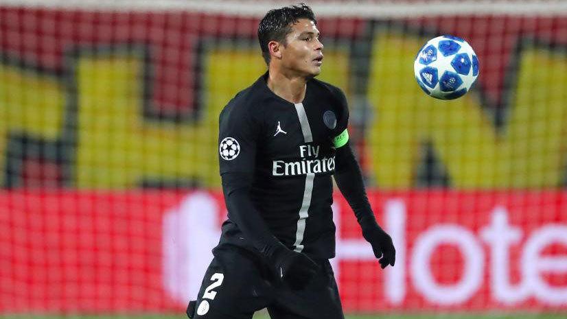 Thiago Silva during a Champions League game for Paris Saint-Germain.