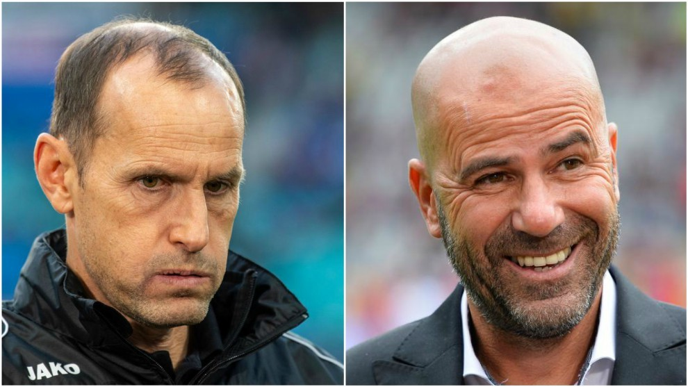 Heiko Herrlich to the left; Peter Bosz to the right.