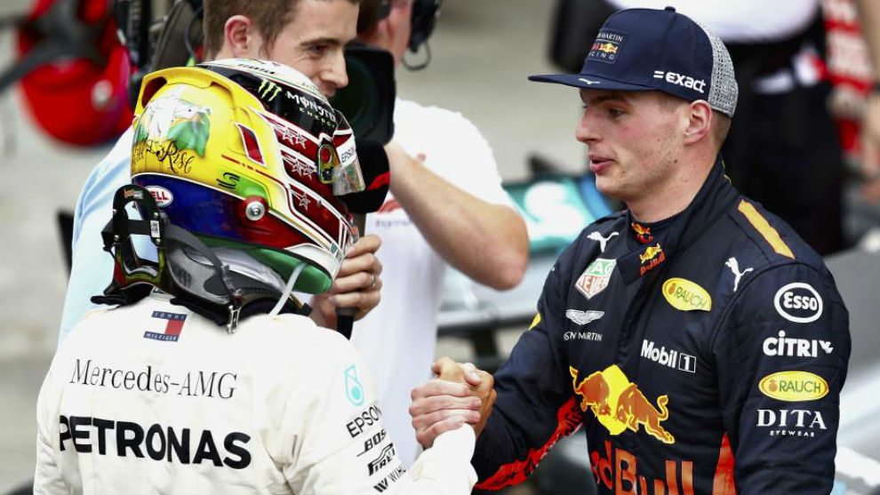 Max Verstappen and Lewis Hamilton