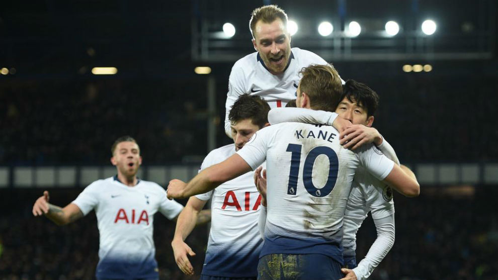 The Tottenham players celebrate one of their goals against Everton.
