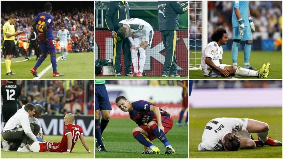 Jugadores con más lesiones: Umtiti, Robben, Marcelo, Gareth Bale,...