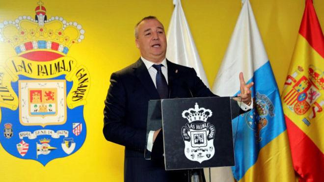 El presidente  Miguel Ángel Ramírez, durante su intervención en el...