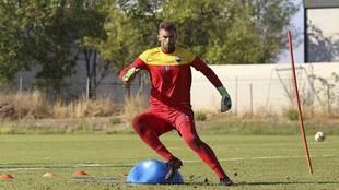 Manu García, durante un entrenamiento en Almendralejo