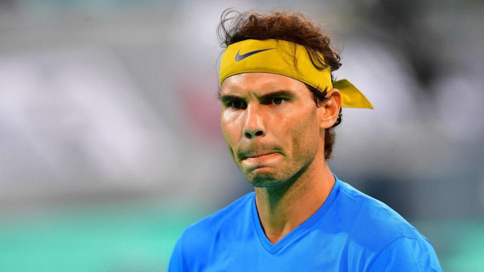Rafa Nadal durante su partido ante Kevin Anderson en Abu Dabi.