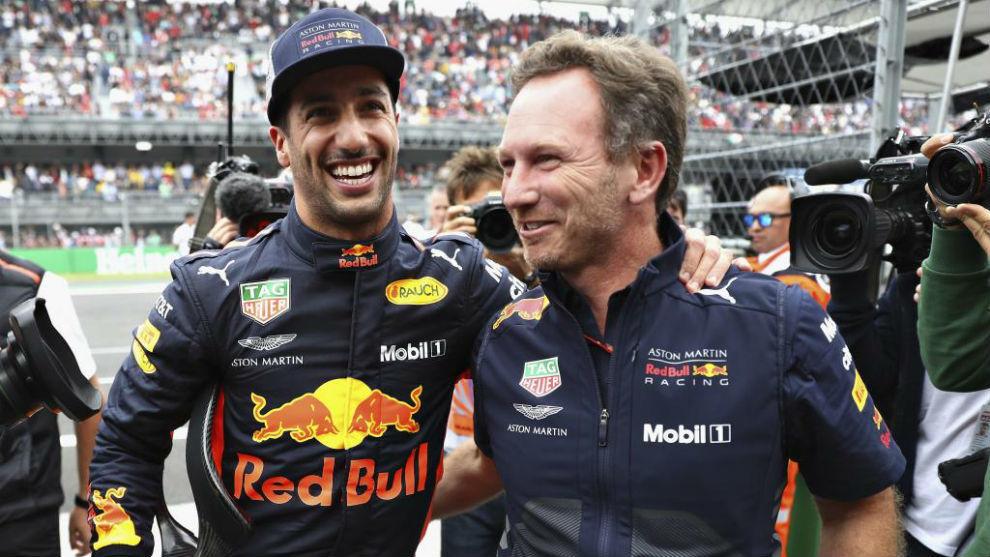 Ricciardo y Horner en el GP de México